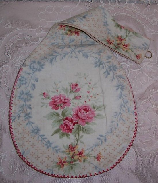 ANTIQUE/French Pink ROSES Fabric Purse/Bag/Holder/Case