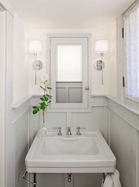 built in mirror - wainscoating - tight space