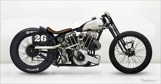 1925 Brough Superior Drag Bike - via Pipeburn