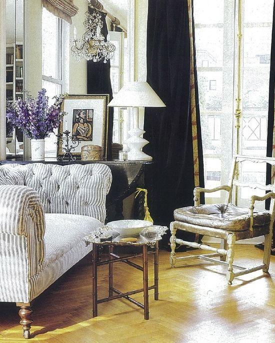 Ticking stripe sofa, floors, French door