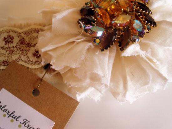 Vintage lace handmade headband