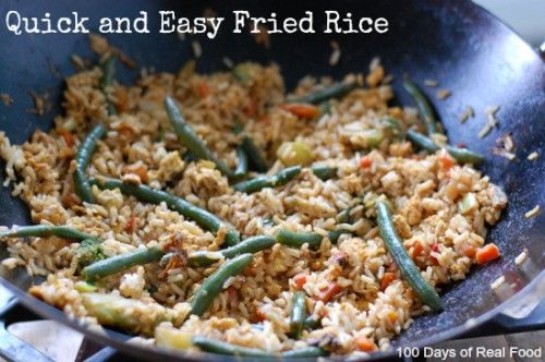Recipe: Super Quick and Easy Fried Rice - 100 Days of Real Food  I did light sodium soy sauce and a little more rice than recipe called for