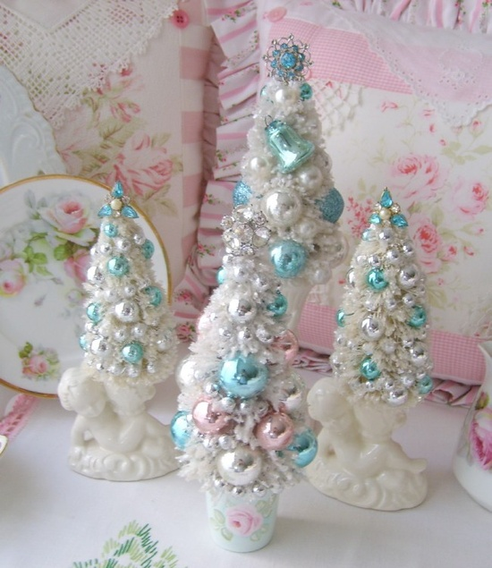 Vintage Style Bottle Brush Tree with Pink Roses