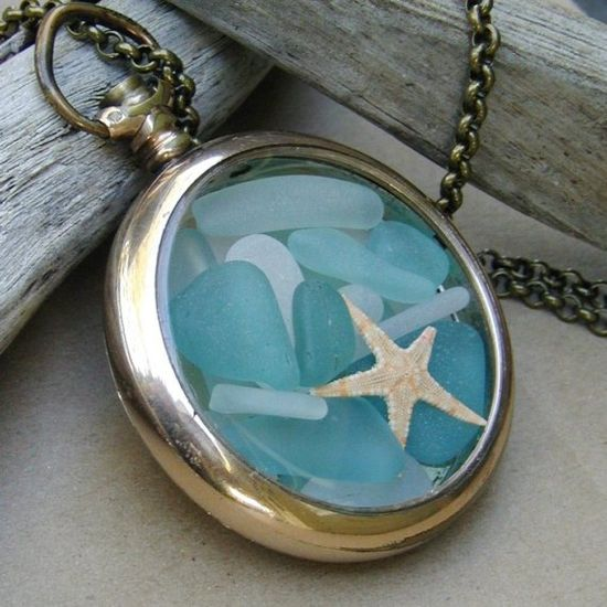 sea glass locket in a pocket watch setting /-