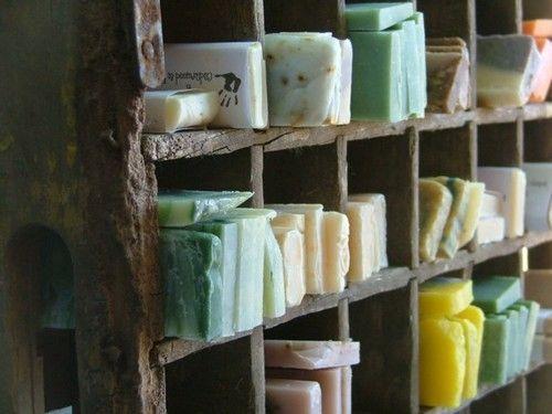 shelves of handmade soap....looks stunning :)