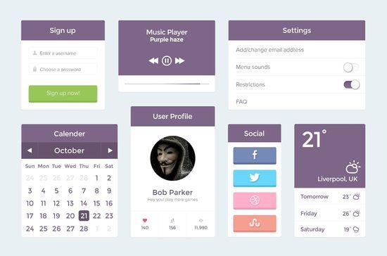 Free Flat Purple UI Kit