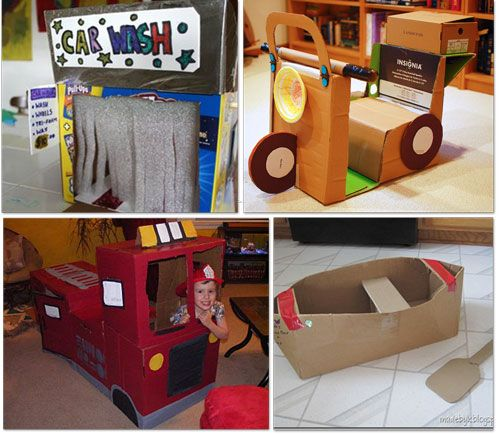 cardboard scooter and fire truck made from cardboard boxes