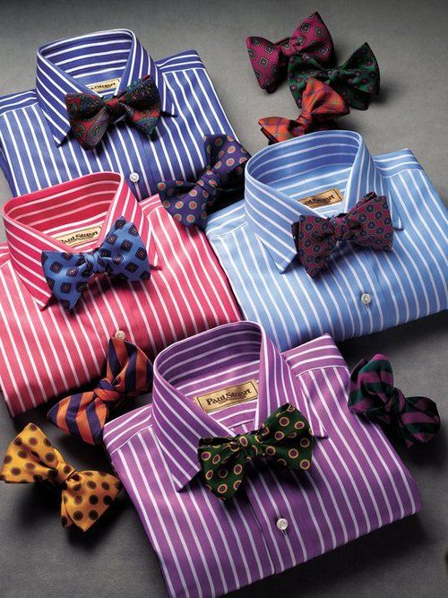 Striped shirts and bow ties.