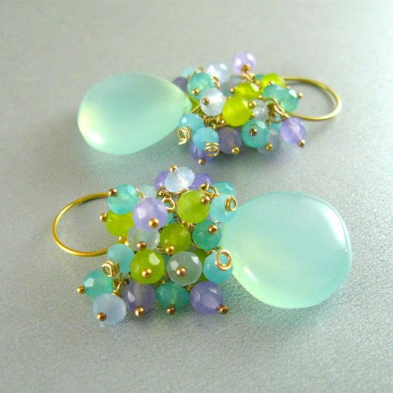 Aqua Chalcedon Cluster Wire Wrapped Sterling by SurfAndSand LOVE the colours!