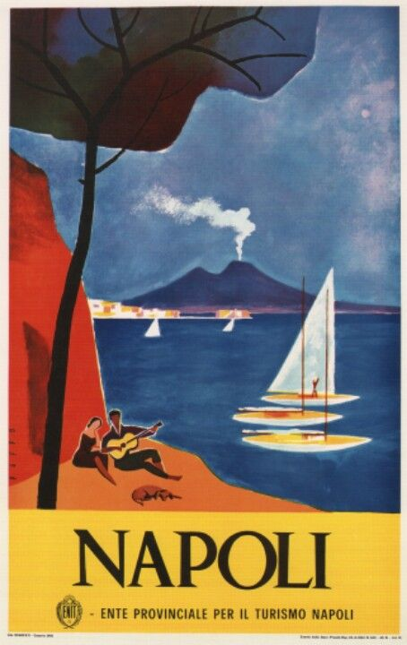 Naples, Italy #travel #poster by Mario Puppo 1960