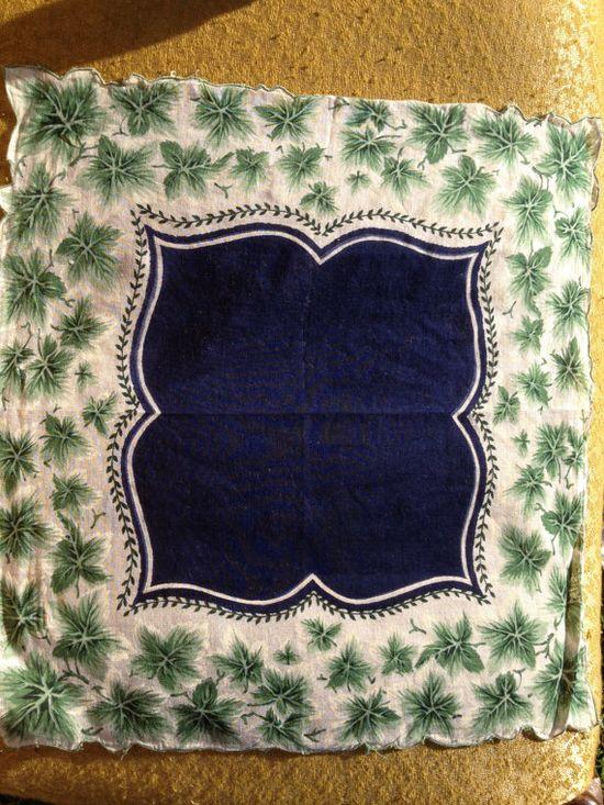 Vintage #Hankie ivy with navy blue center by Prairiegirltreasure, $5.00