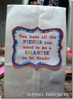 """End of Year Gift - """"You have all the Pieces you need to be a Smartie"""" -  free labels for K/1/2/3 and generic next year"""