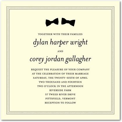 Bow tie wedding stationery for grooms. Love it!