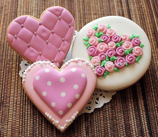 ? pinterest.com/...  Pink Heart Cookies #cookies #pink #