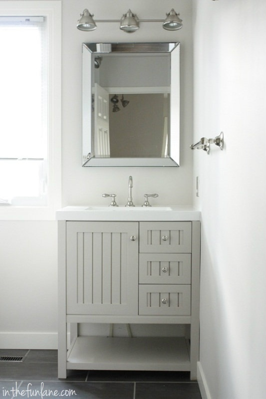 vanity, hardware and mirror from Home Depot