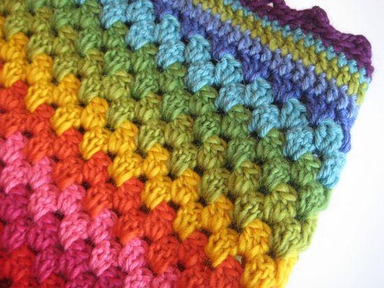 Rainbow granny stripe crochet blanket