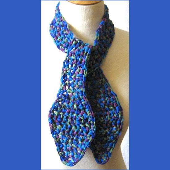 Olympian Blue Tweed Crochet Scarf