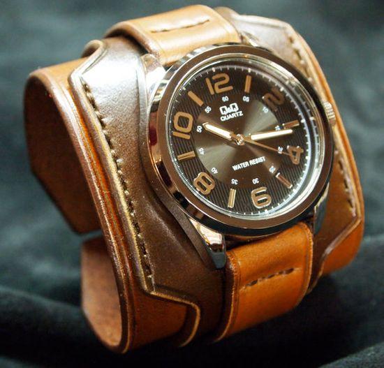Leather cuff watch Nathan Drake wide layered made by mataradesign, $310.00