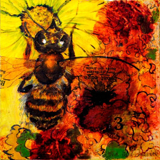 Bee and Sunflower Painting Original Mixed by BobbisMixedMediaArt