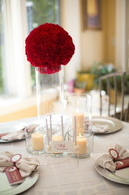Lovely decor at a Bridal Shower!  See more party ideas at CatchMyParty.com!  #partyideas #bridalshower