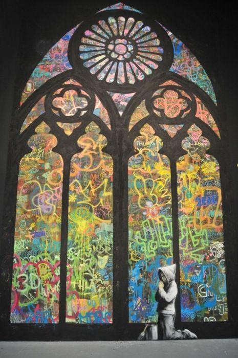 graffiti stained glass windows. banksy.