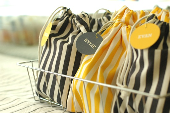 Striped favor bags.