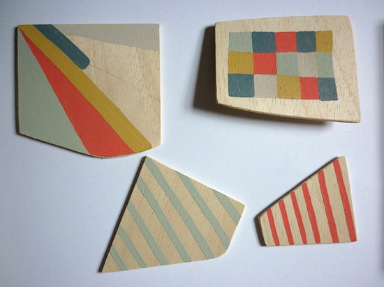 Painted wooden shapes by Sarah Bridgland, via Flickr