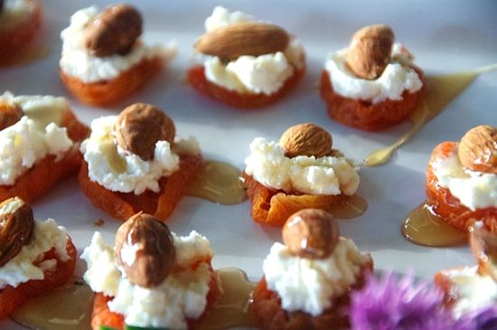 apricot, goat cheese, almond, and honey appetizer