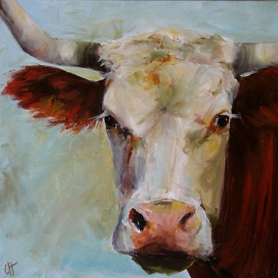 Cow Painting Lucile Original Painting 18x18 by peacockgarden, $350.00