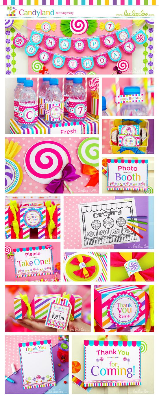 Candyland Birthday Party Package Collection Set Mega Personalized Printable Design by leelaaloo.com