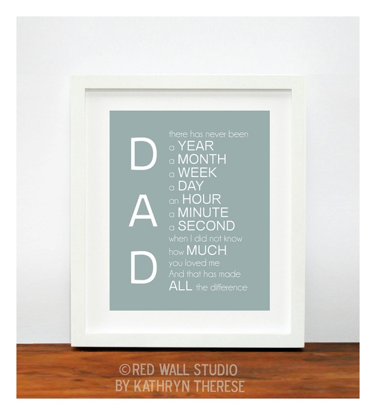 Father of the Bride Gift  - Wedding Gift for Dad - Dusty Blue Gift for Him - Birthday Gift for Dad - Father's Day Gift Typography Art Print. $18.00, via Etsy.