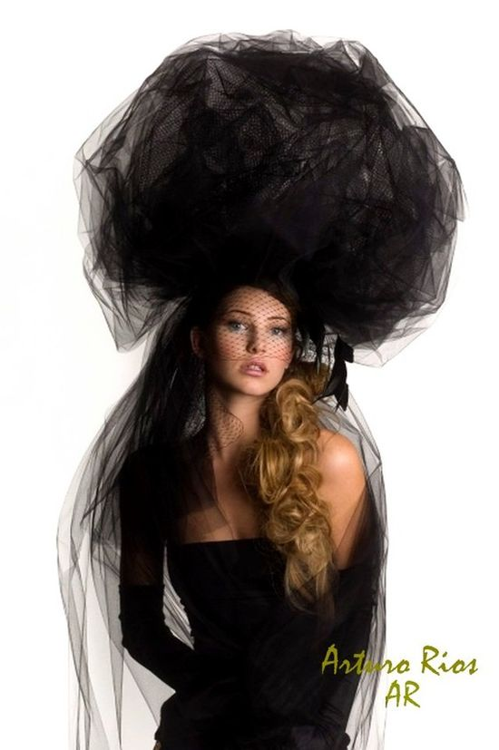 Black Ball Couture Hat by ArturoRios on Etsy