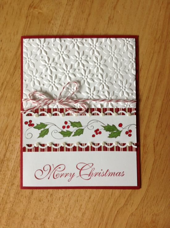 Stampin Up handmade Christmas card  green garland by treehouse05, $4.50