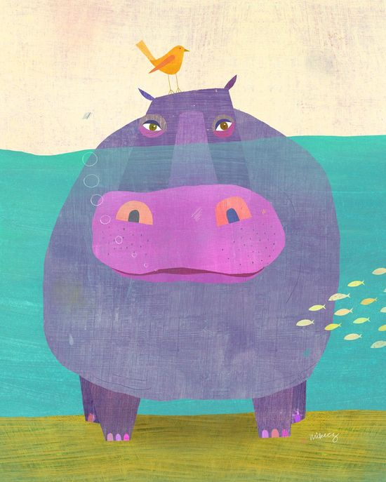 Underwater Hippo by twoems #Illustration #Hippo #twoems