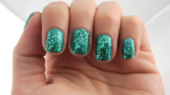 Teal prism glitter nail polish by ILoveNP on Etsy, $10.00