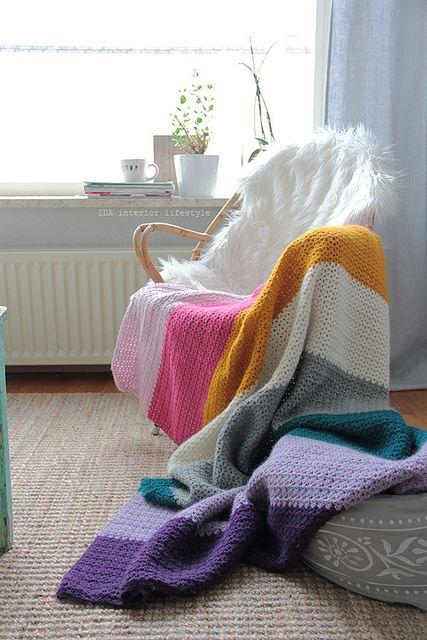 Free stitch pattern for stripey blanket by IDA Interior LifeStyle