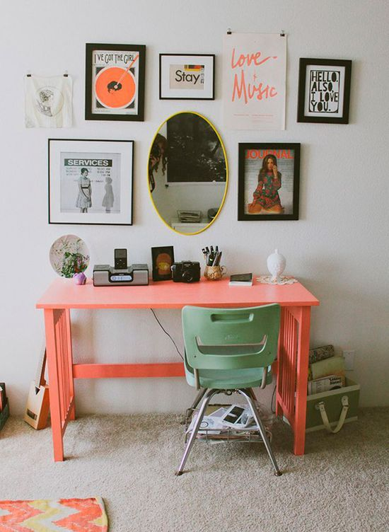 A home office with candy color. #charm #color #interior #design #office
