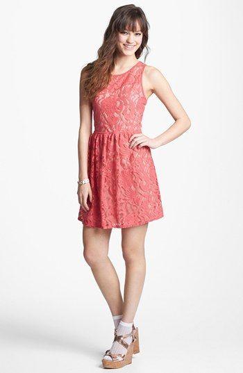 Fire Back Cutout Lace Skater Dress (Juniors) #ao dai #aodai