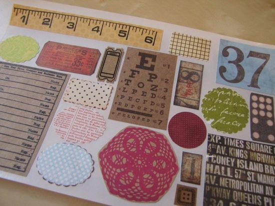 Vintage Style Stickers-Labels-Scrapbooking Embellishment-Envelope Seal-Ephemera Set