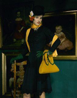 The pops of saffron are utterly marvelous! #hat #purse #vintage #fashion #1940s