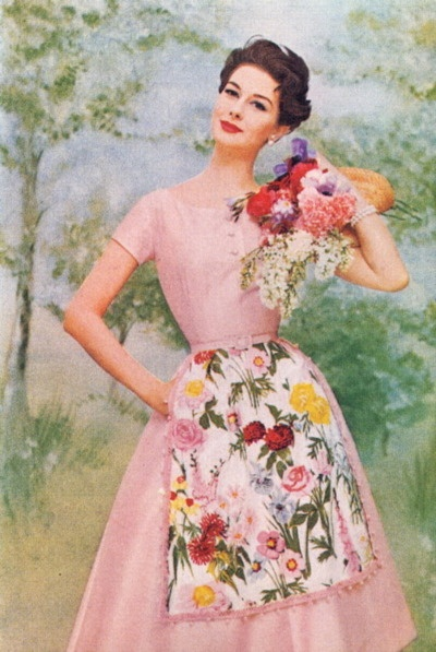 #vintage #fashion #1950s #flowers #pink #dress
