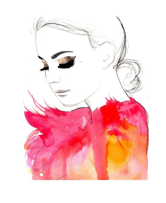 Original watercolor and pen fashion illustration by Jessica Durrant