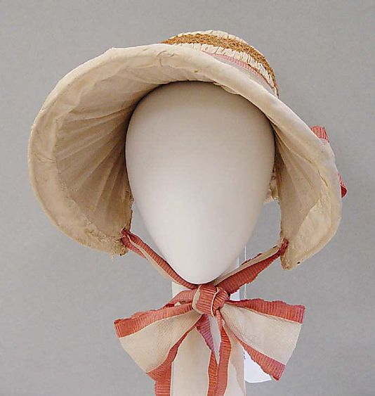 Bonnet 1818, American, Made of straw and silk