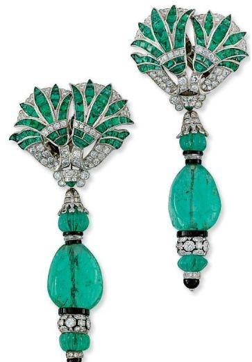 A PAIR OF EMERALD, DIAMOND AND ONYX EAR PENDANTS, BY FRED LEIGHTON