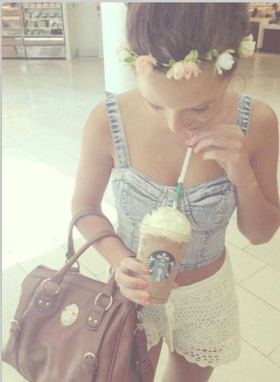 Summer outfit , jeans and starbucks