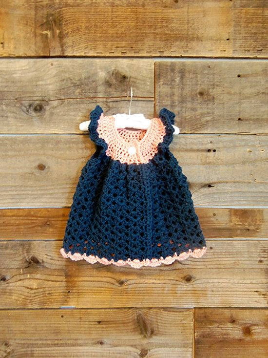 Crochet Pink and Blue Baby Girl Dress