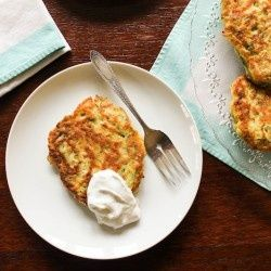 Savory Zucchini Pancake 3 medium organic zucchini,  grated 1 1/2 tsp onion powder 1/2 tsp garlic powder 1/2 tsp salt 1/4 tsp pepper 1/8 to 1/4 tsp cayenne pepper, depending on taste 1 large egg 1 cup water, or zucchini liquid mixed with water to make 1 cup 1 3/4 cup Trader Joe's Buttermilk Pancake Mix Canola, grapeseed, or other neutral tasting