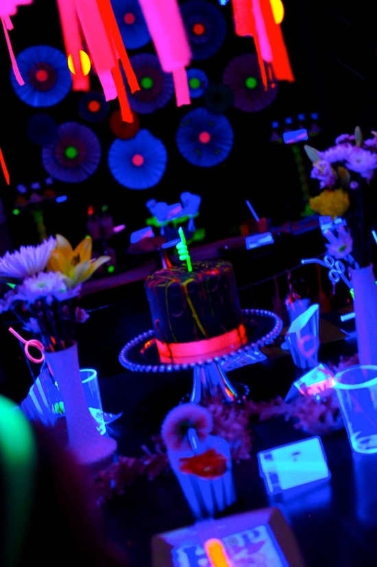 Neon glow teenage party via Kara's Party Ideas .com!