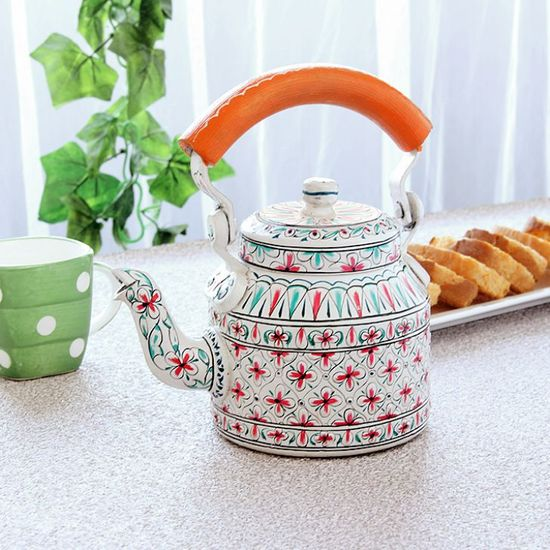 Kaushalam Tea Kettle White & Orange - FabFurnish.com-Kitchen-Decor