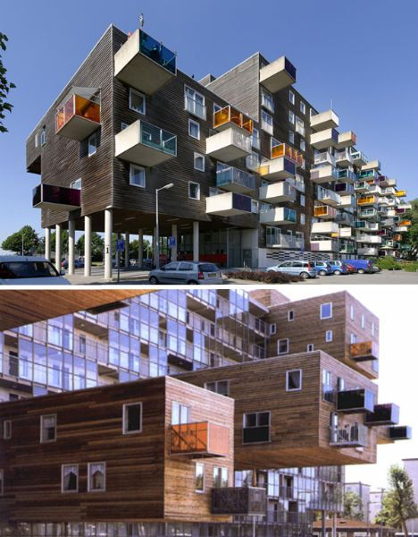 WoZoCo, Amsterdam, Netherlands, 1994 -97: The extruded design of this seniors housing project allowed each unit good lighting, preserved common green space and conformed to height restrictions. #Architecture #WoZoCo